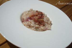 Risotto pancetta, oignon rouge, persil, fromage frais