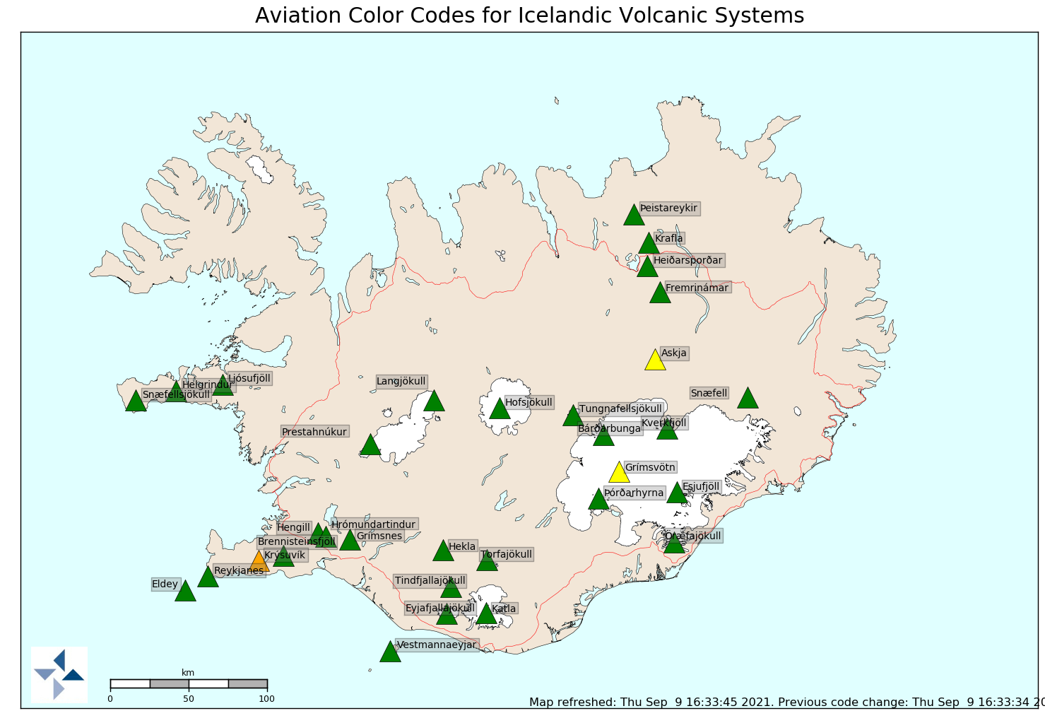 Iceland - color codes for 3 volcanic systems as of 09.09.2021 / 16h33 - one click to enlarge