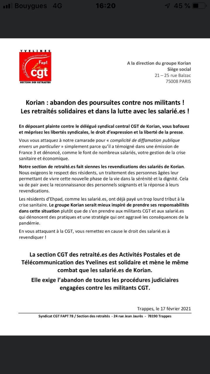 Korian: la solidarité s'organise autour du DSC CGT : communiqués la FPCGIL (Italie), de l'EPSU (Fédération européenne des services publics),de FO et de nombreuses structures locales et départementales de la CGT et bien sur le soutien de HK!