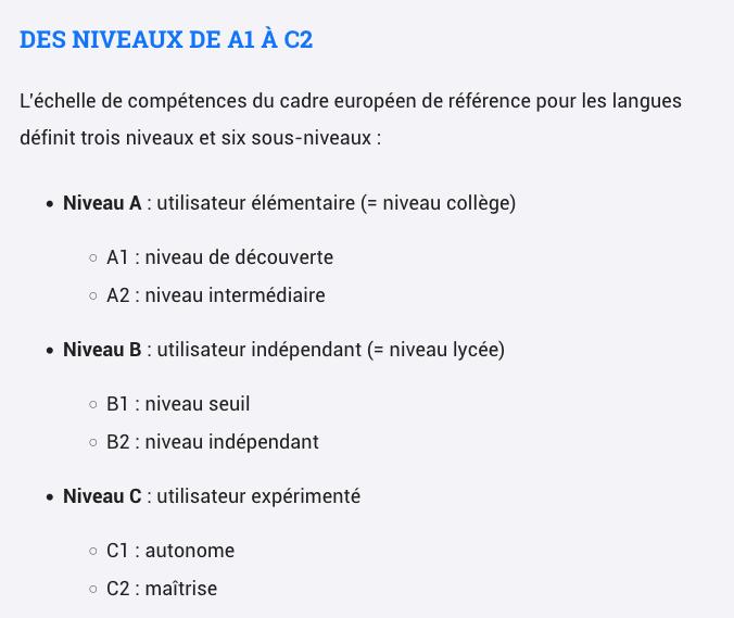 GRILLES D'EVALUATION de A1 à C2