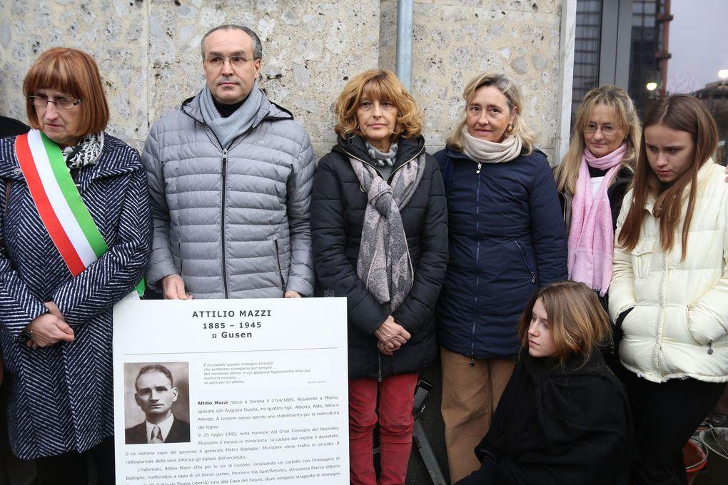 alcuni momenti della cerimonia di posa della Pietra d'inciampo dedicata ad Attilio Mazzi (Lissone 25 gennaio 2020)