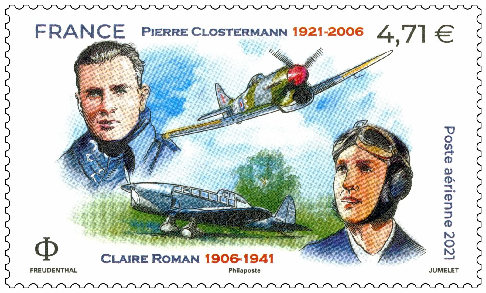 Un timbre à l'effigie de Pierre Clostermann et Claire Roman