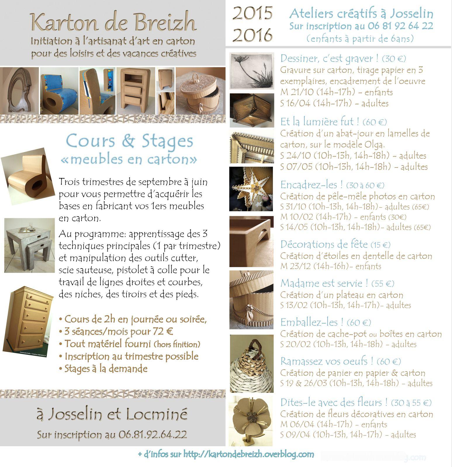 """Programme 2015-2016 des cours et stages """"meubles & décos en carton"""""""