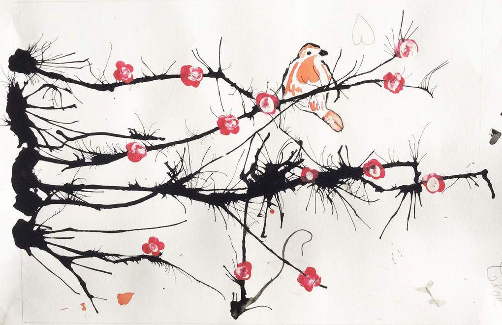Les branches sont réalisées à l'encre de chine et les fleurs à la peinture acrylique.