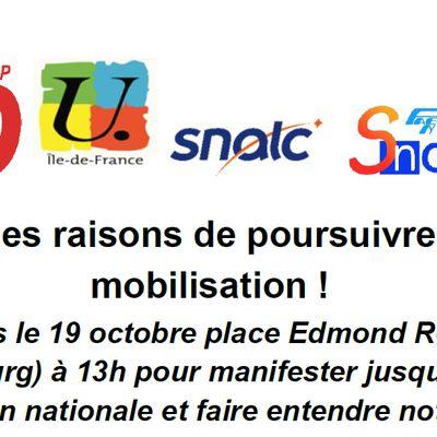 AESH appel intersyndical à la grève et manifestation nationale à Paris mardi 19 octobre - communiqué du SNUDI FO