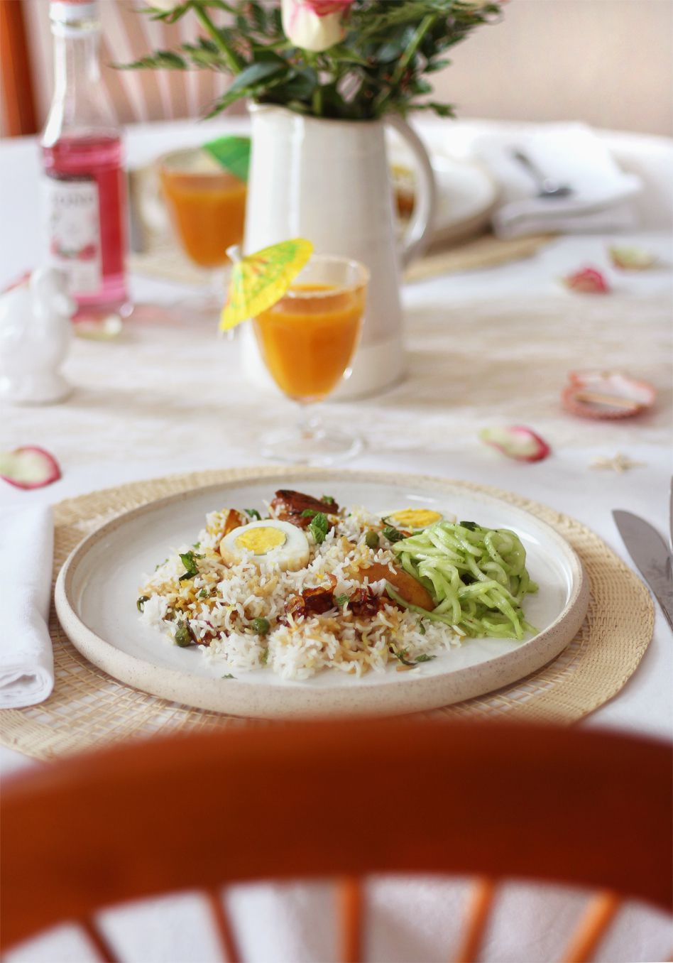 Briani végétarien & sa salade de concombre à la menthe, mon plat festif pour l'Indépendance d'île Maurice