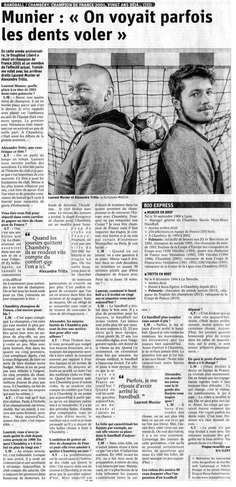Laurent MUNIER et Alexandre TRITTA parle de leur handball, article du DL 29 avril 2021 / Eric CLERT