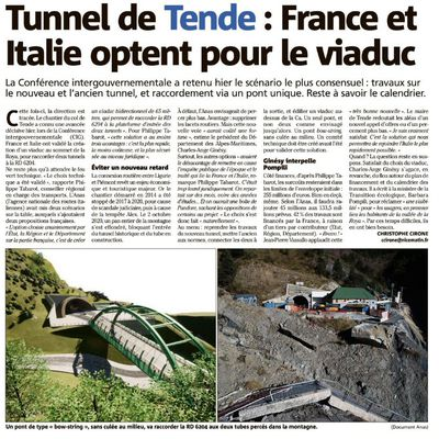 Tunnel de Tende : ce sera au col