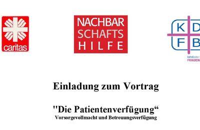 Patientenverfügung: Einladung zum Vortrag  am 25. Februar in der Sozialstation Veitshöchheim