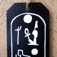 Pendentif en bois - cartouche de Ramses II