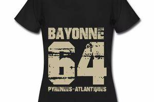 T shirt Aquitaine noir femme Bayonne 64 Pyrénées-Atlantiques