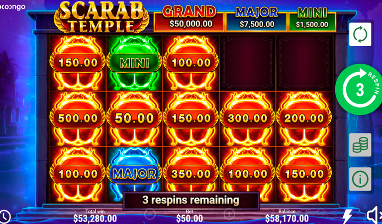 machine a sous en ligne Scarab Temple respins hold and win
