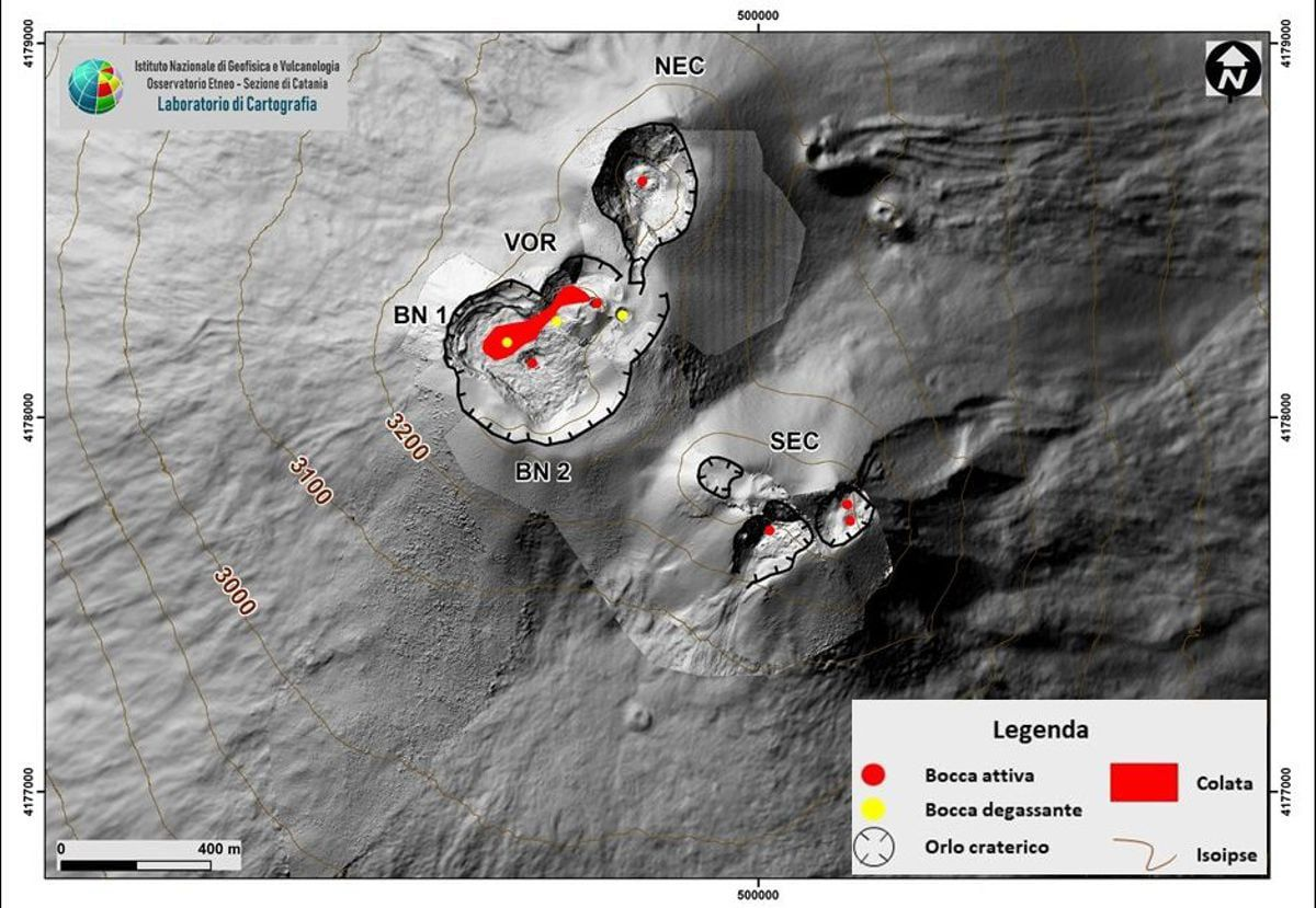 Etna - activity of the summit craters on 31.01.2021 - Doc. INGV OE