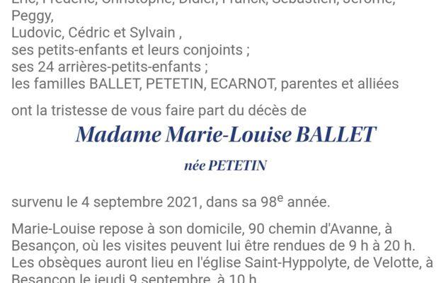 Décès de Mme Marie-Louise BALLET