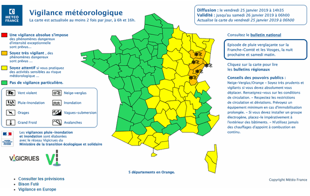 "Météo France place 5 départements en vigilance orange ""neige-verglas"""