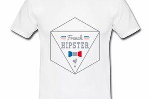 T shirt bleu blanc rouge French Hipster HBL