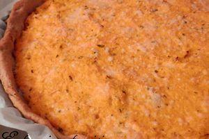 Tarte façon parmentier de thon à la courge butternut et au fromage frais sur pâte brisée maison aux 3 farines