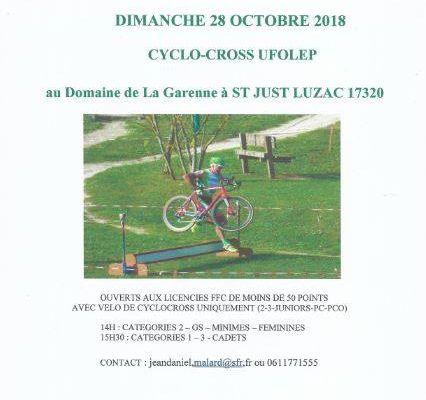 PHOTOS / DIMANCHE 28 OCTOBRE 2018 / ST JUST LUZAC 17320 ( cyclo cross UFOLEP )
