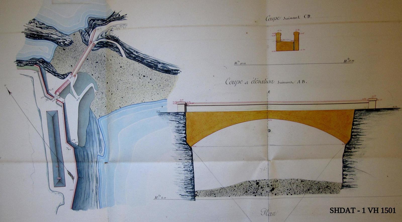 Projet du pont en décembre 1860 (© Service historique de la Défense)