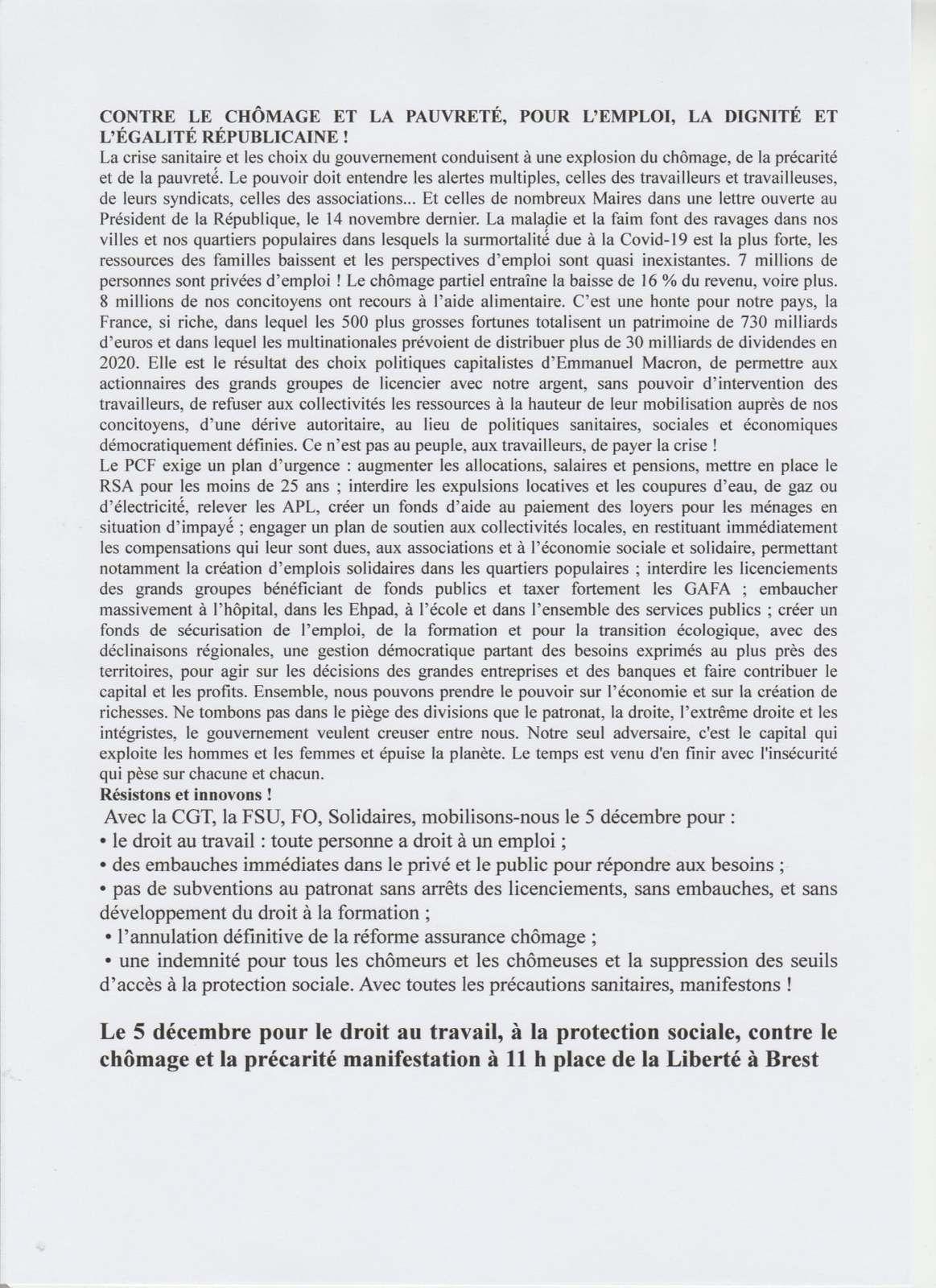 Parole communiste, décembre 2020 - Le journal de la section PCF pays de Brest