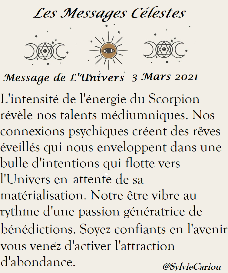 MESSAGES DE L'UNIVERS  Du3 mars 2021