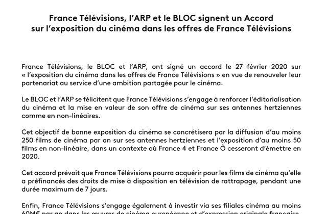 France Télévisions, l'ARP et le BLOC signent un accord sur l'exposition du cinéma dans les offres de France TV (communiqué).