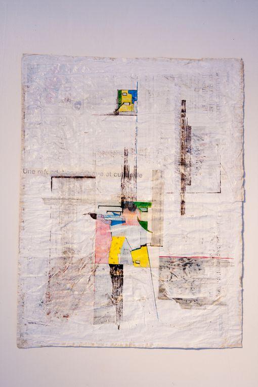 Papier journaux marouflés, peinture, ancre de chine, résine à l'eau.