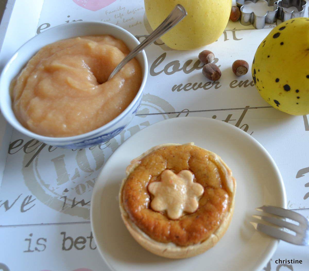 Tartelettes au flan à la compote pommes-coings