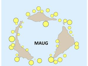 Maug island - coral cover, peripheral distribution and absence in the caldera - a click to enlarge - Doc. NOAA Pacific Islands Fisheries Science Center Blog http://www.pifsc.noaa.gov/
