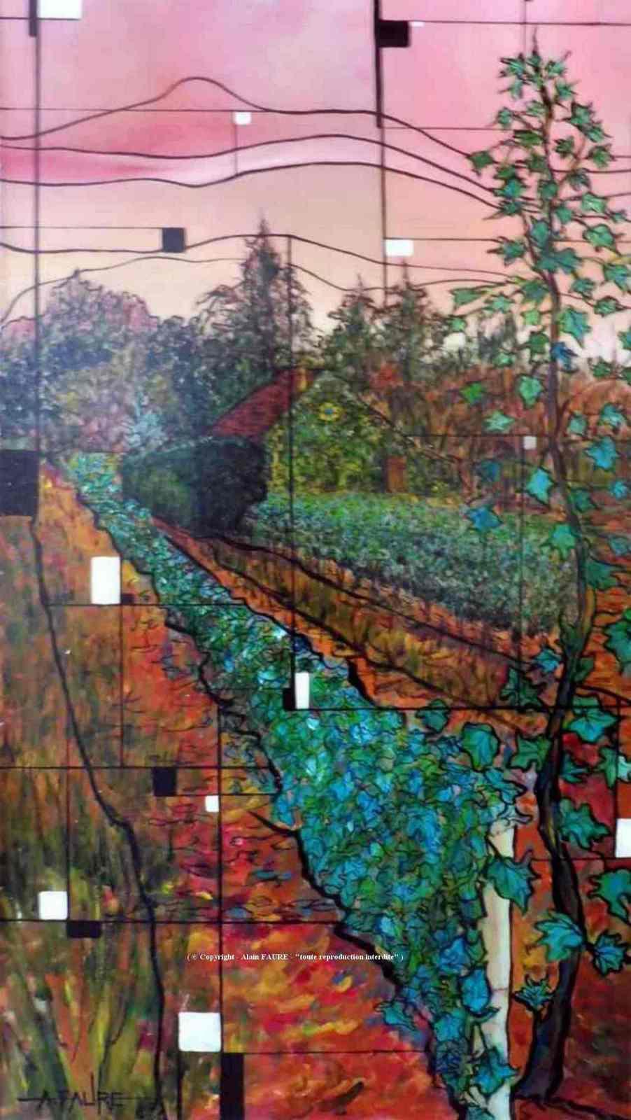 OREE A LA VIGNE Acrylique sur toile : 70 x 40 cm..........1000 € Elle se cache non loin de la forêt, derrière la cabane du vigneron à l'abri d'une petite murette, dans une exposition plein sud. Plantée dans cette terre rouge du Val de Loire, elle est le cépage dominant de cette belle région. C'est un Pineau d'Aunis dont les arômes rappellent ceux de la framboise.