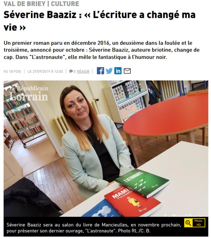 """Un article sur Séverine Baaziz dans """"Le Républicain Lorrain"""""""