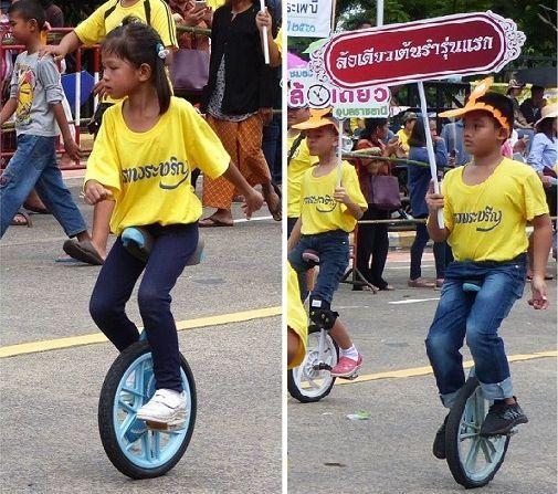 Des monocycles au Festival des Bougies à Ubon Ratchathani (6)
