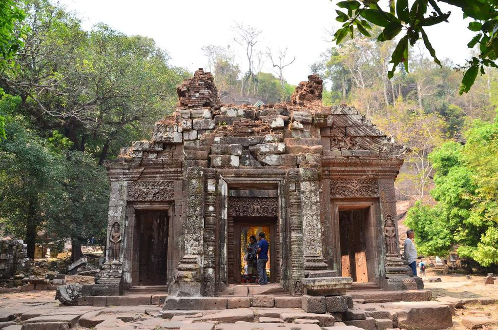 Les ruines de Vat Phu au milieu des frangipaniers en fleurs