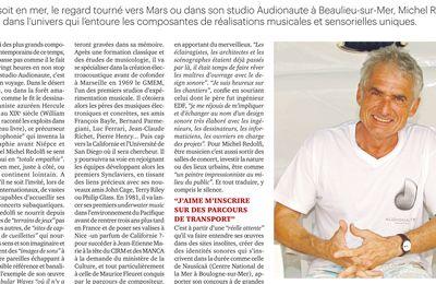 [ Presse écrite ] Michel Redolfi, portrait (La Tribune Côte d'Azur, 27 nov. 2020)