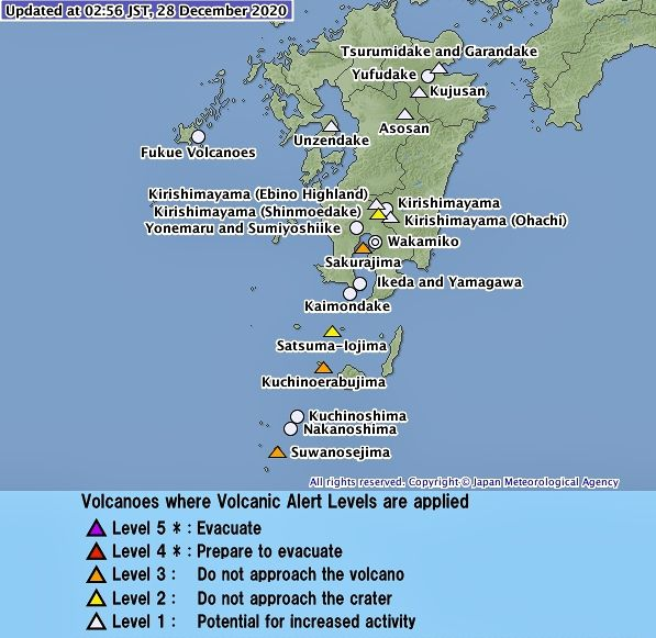 "The JMA raised the alert level of Suwanosejima to ""3 / do not approach the volcano"" on 12/28/2020"