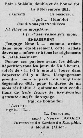 Exemple de contrat établi par Mme Bodard - L'Artiste lyrique du 23 mars 1912