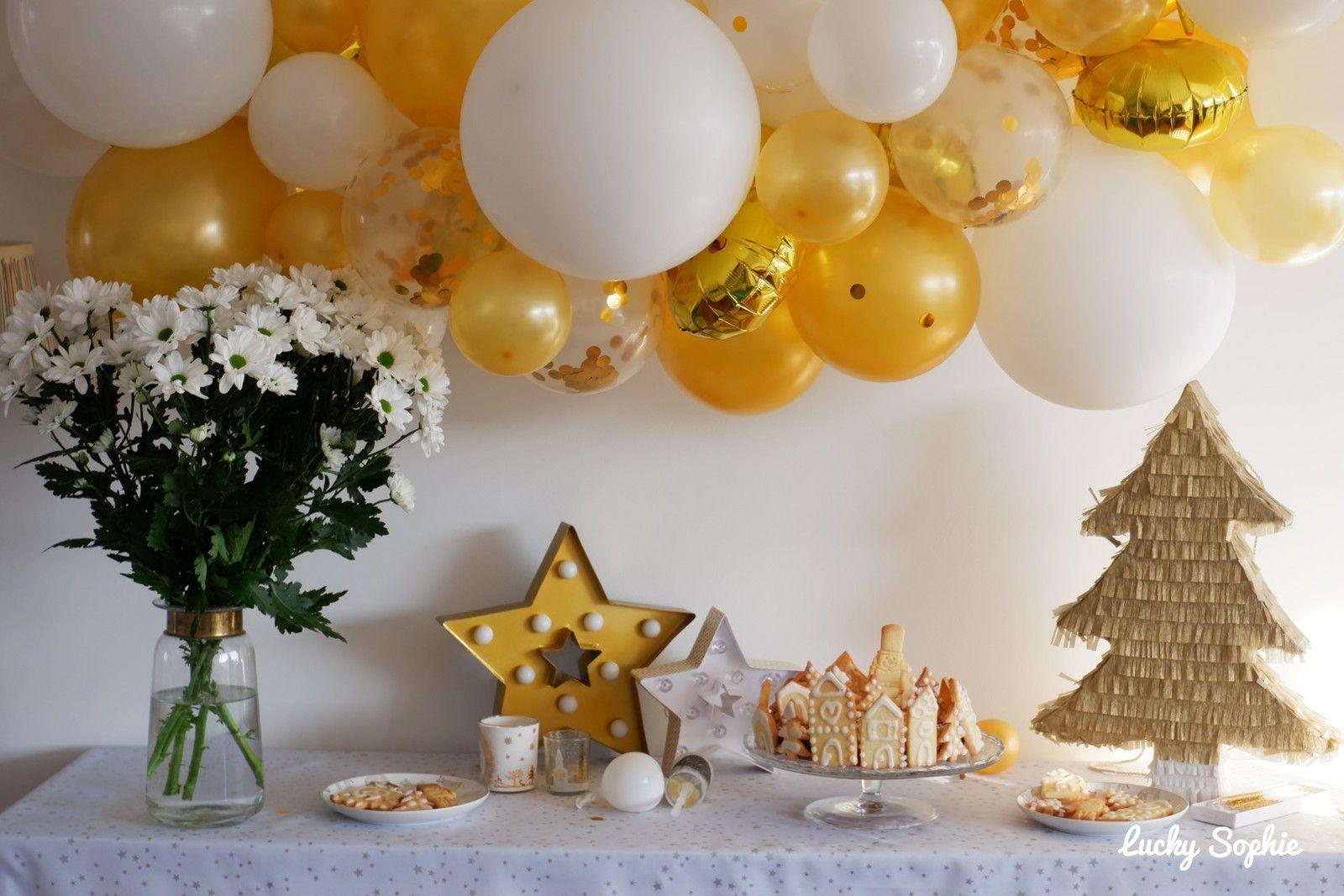 Goûter de fêtes en blanc et or