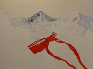 """Lava Hunter in Kamchatka."". - Steps 1 and 2: pencil (we guess the character left) and acrylic."