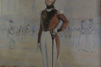 aquarelle officier de sapeur pompier  par Théodore Jung (1803 -1865 )