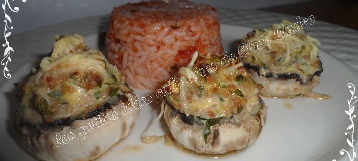 Champignons farcis au bacon et riz Basmati à la tomate