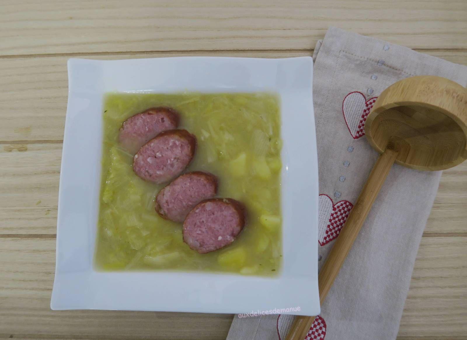 Soupe jurassienne à la saucisse de Montbéliard, avec M. Cuisine ou pas