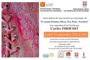 """Invitation au vernissage de """"F COMME"""" exposition de l'Atelier Fiber'Art"""