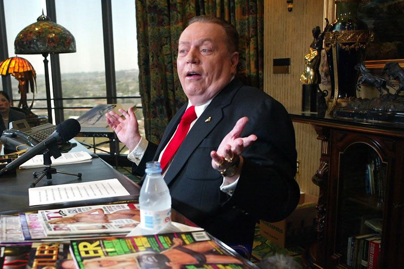 Mr. Flynt in his office in Beverly Hills, Calif., in 2003, when he announced his candidacy for governor of California. He built an empire of smut around his magazine and later presented himself as a champion of free speech.Credit...Monica Almeida/The New York Times