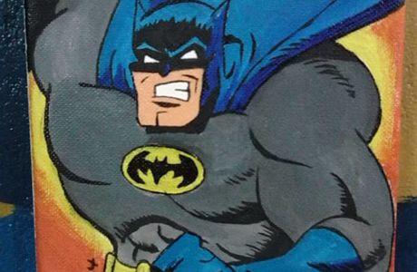 Cuadro de Batman pintado con acrílico
