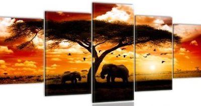 Tableau éléphant dans la savane 100x50cm