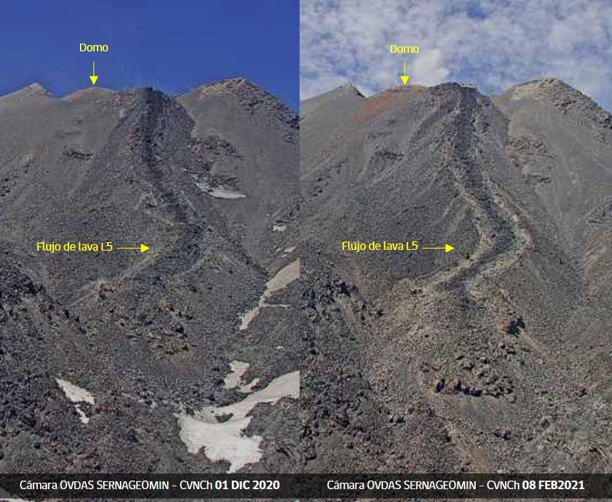 Nevados de Chillán - morphological changes of the L5 lava flow - Doc. Sernageomin