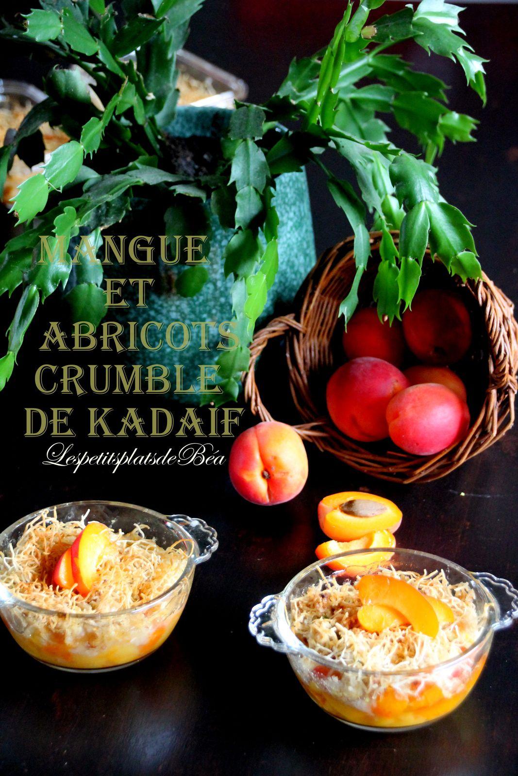 Mangue et abricots à la fleur d'oranger crumble au kadaïf
