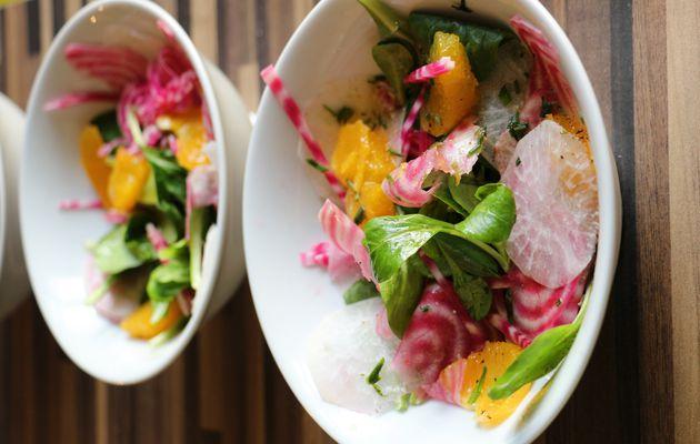 Salade de betterave chioggia, radis noir , mâche et vinaigrette à l'orange