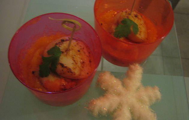 verrine noix de Saint Jacques et purée de patate douce à l'orange