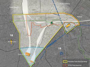 Carte du secteur Paris Nord-Est dans son périmètre élargi  et réunion du 8 mars 2017 -  Documents Mairie de Paris